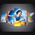 Snow White Disney Wall Decor HD 5pc Cartoon Framed Oil Painting
