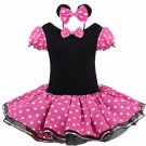 Minnie Mouse Tutu Pink Polka dot Dress Kids Girls + Headband 12M-Size 7