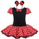 Minnie Mouse Tutu Red Polka dot Dress Kids Girls + Headband 12M-Size 7