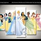 Disney Princesses Framed 5pc Oil Painting Wall Decor 2 Cartoon