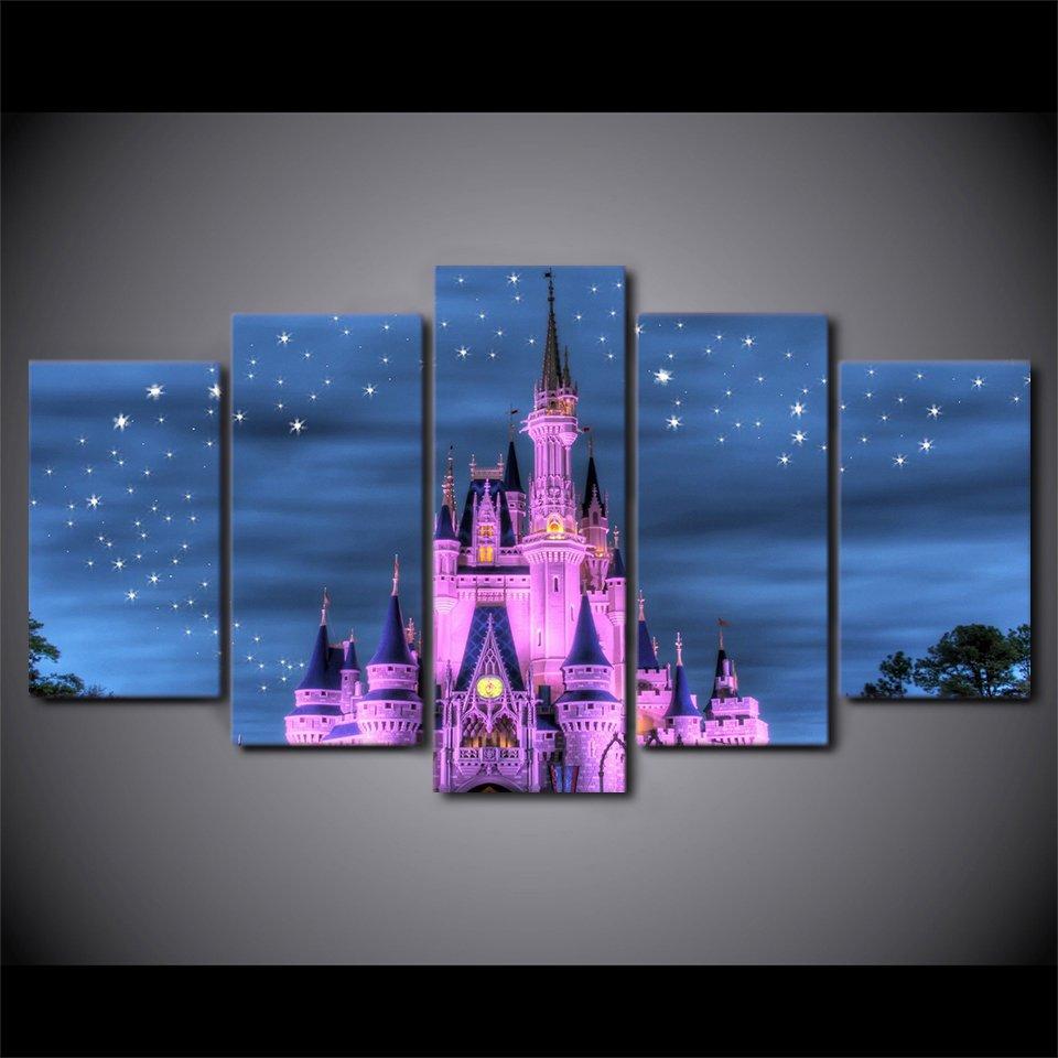 Disney Magic Castle Princess Stars Magical 5pc Wall Decor Framed Oil Painting