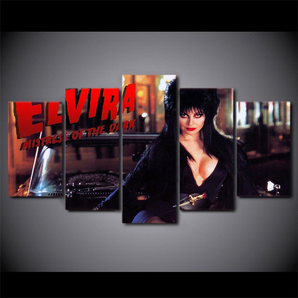 Elvira Mistress of the Dark Horror Fans 5pc Framed Canvas Painting Wall Decor