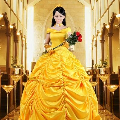 Adult Cosplay Beauty and the Beast Princess Belle  Costume Dress