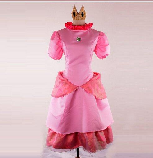 Princess Peach Super Mario Adult Female Character Costume Dress