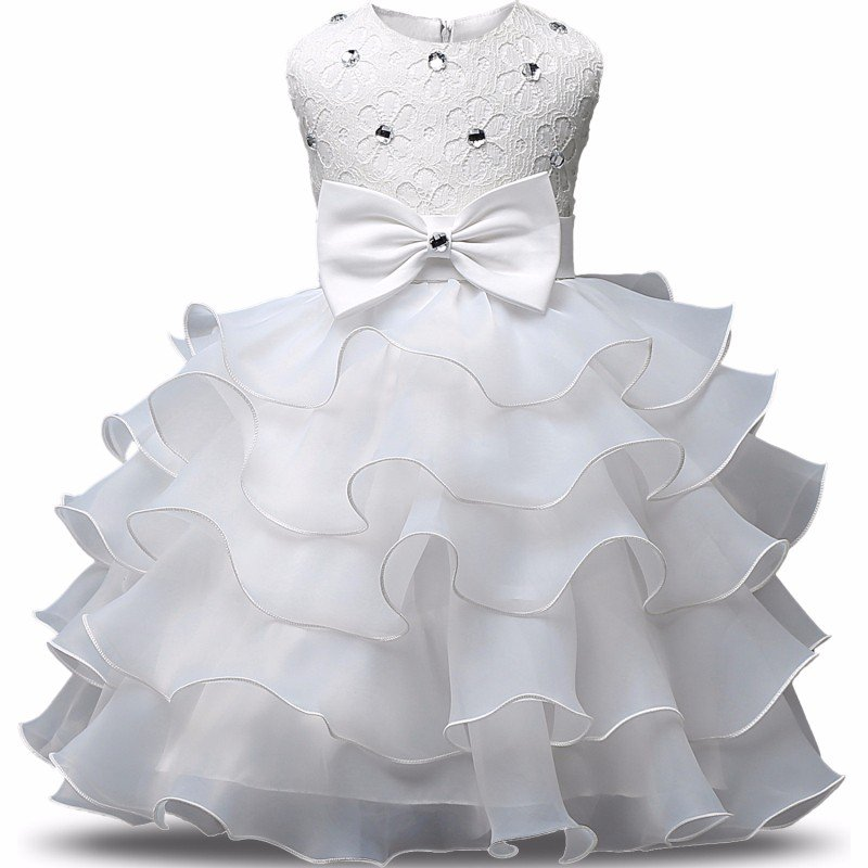 Stunning Flower Print Bow Fashion Princess Girls Child Ball Gown White  6M-8