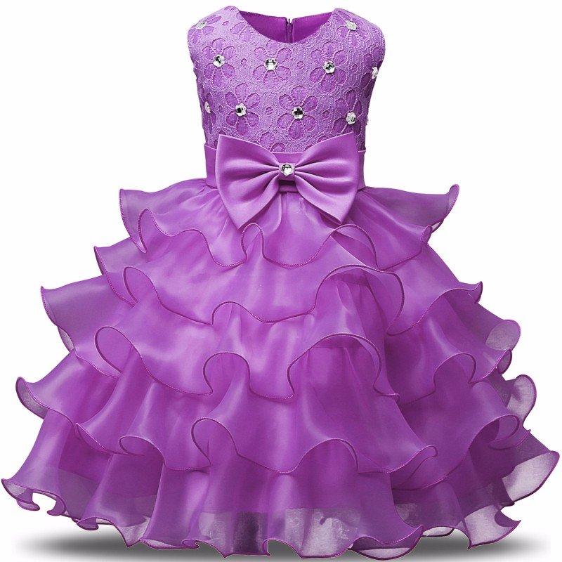 Stunning Flower Print Bow Fashion Princess Girls Child Ball Gown Purple 6M-8