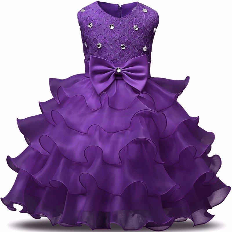 Stunning Flower Print Bow Fashion Princess Girls Child Ball Gown Dark Purple 6M-8