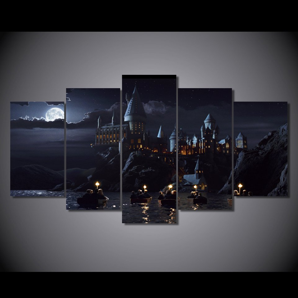 Harry Potter Castle Movie 5pc Wall Decor Framed Oil Painting HD Promotion Offer