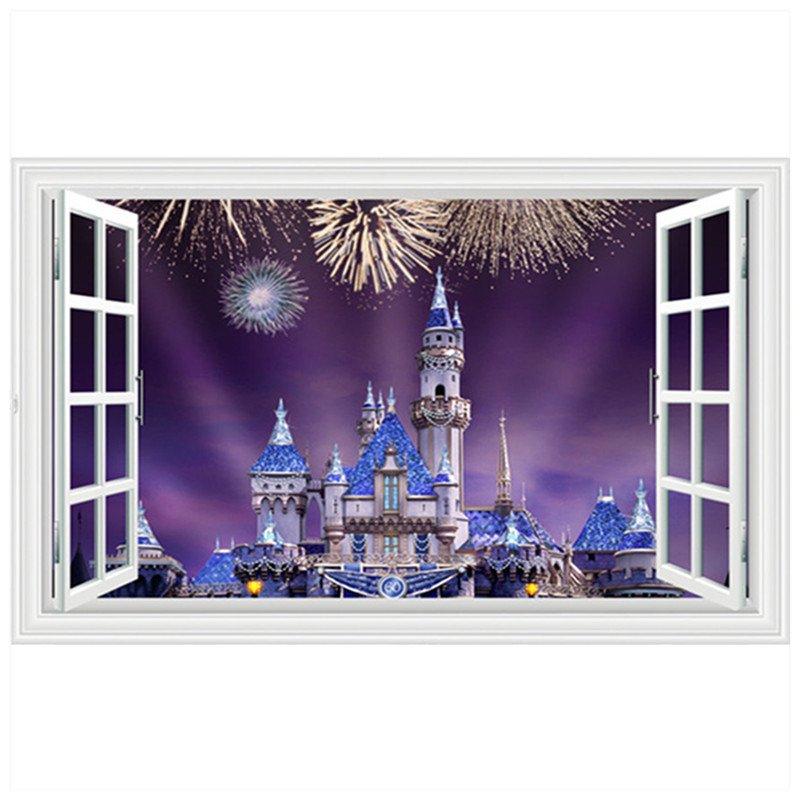 "Disney Magic Castle Fireworks 3D Wall Decal 24""x35"" Design Vinyl Scene Decor"