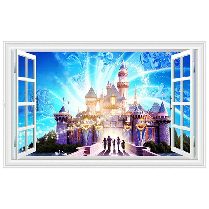 "Disney Magic Castle 3D Wall Decal 24""x35"" Design Vinyl Scene Decor"