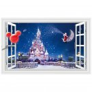 "Disney Magic Castle Christmas 3D Wall Decal 24""x35"" Design Vinyl Scene Decor"