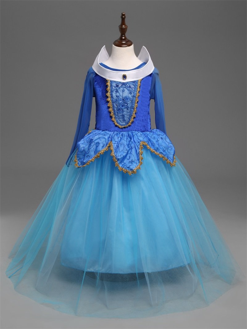 Fantasy Kids Blue Sleeping Beauty Cosplay Costume Disney Princess Aurora Dress $3 Ship