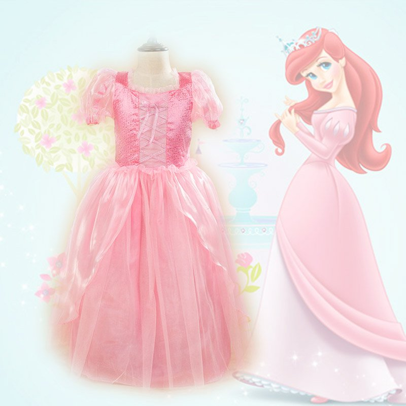 Ariel  Little Mermaid Pink Princess Dress Kids Cosplay Costumes