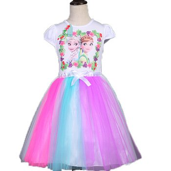 Elsa and Anna Frozen Dress Tutu Style Colorful 3T-7T NEW White Top