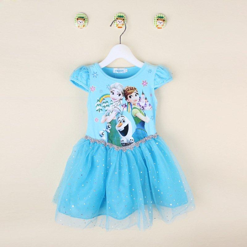 Baby Girls Elsa and Anna Frozen Character Dress Blue Kids