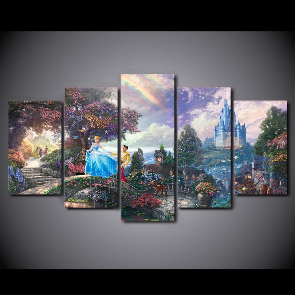 Cinderella prince and castle lovely disney canvas wall for Paintings for bedroom decor