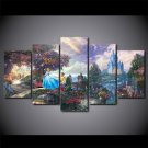Cinderella Prince and Castle Lovely Disney Canvas wall decor 5pc Framed Oil Painting Bedroom art HD