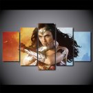 Wonder Woman Superhero Movie Action Canvas HD Wall Decor 5PC Framed oil Painting Art