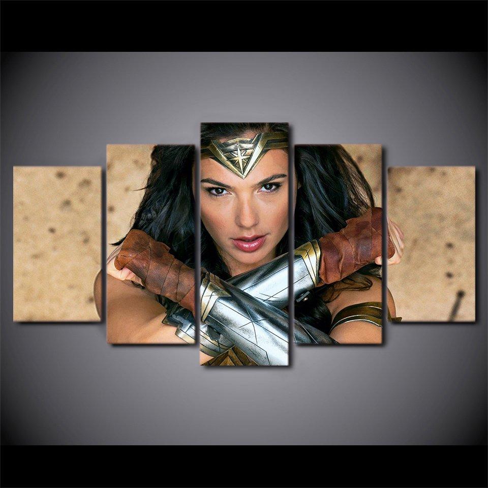 Wonder Woman Movie Superhero Character Canvas HD Wall Decor 5PC Framed oil Painting Art
