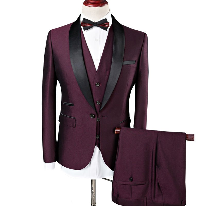 Men Red Wine Hollywood Tuxedo Suit Luxury Design Attire Jacket, Vest, pants -S to 4XL