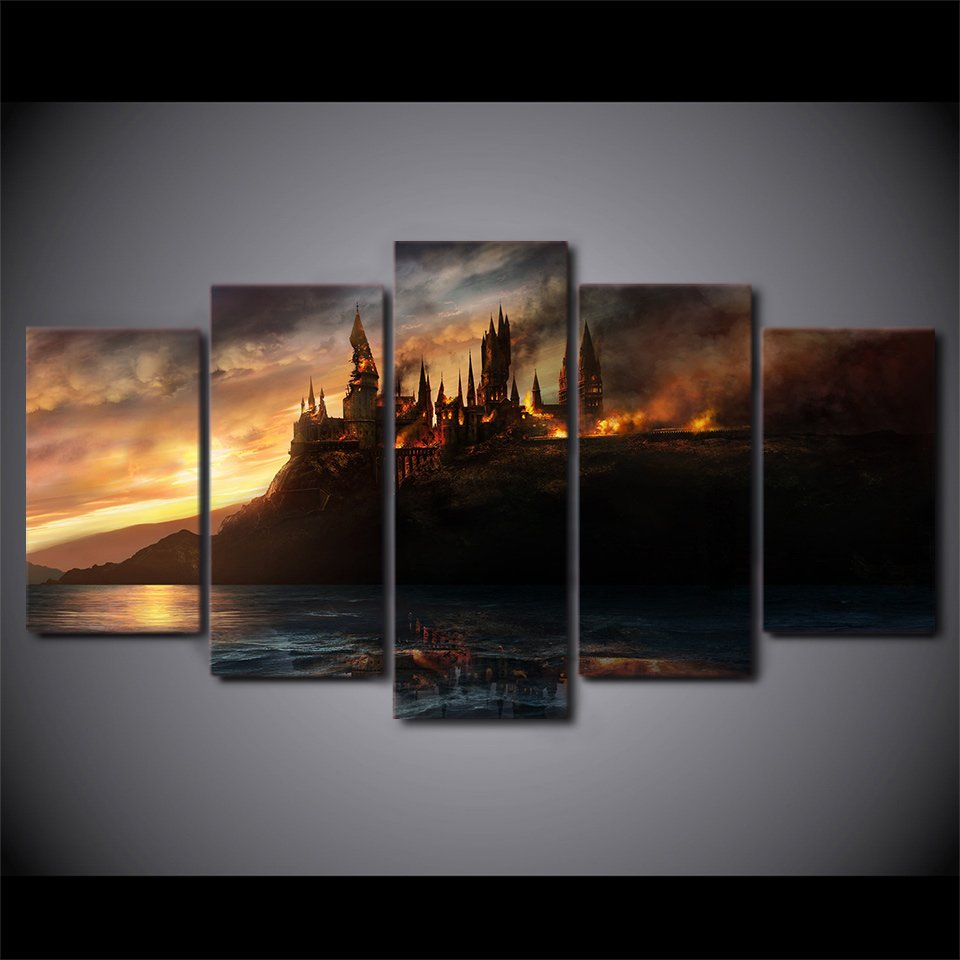 Harry Potter Castle New 5pc Wall Decor Framed Oil Painting Hd