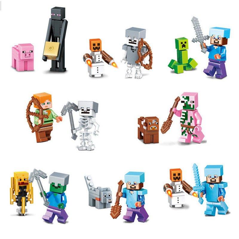 Minecraft Gaming 8pc Mini Figures Building Blocks Minifigures set 2 Steve Creeper Ederman