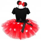 Minnie Mouse Tutu Red Polka dot Dress Kids Costume Girls + Headband SALE