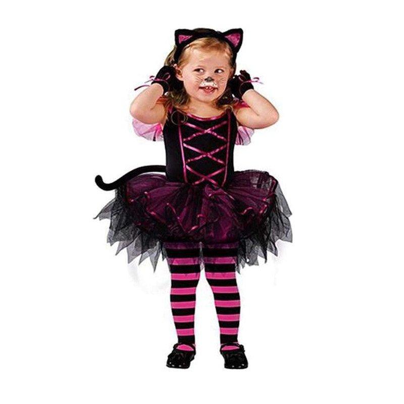 Girls Cat Halloween Costume for baby girl tutu dress + Headdress Cheshire
