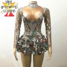 Glass Mirror Sparkling Bling One-piece Stage performer costume women