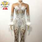 Rhinestones White Lace Nude Full Bodysuit Female Stage performer costume Party