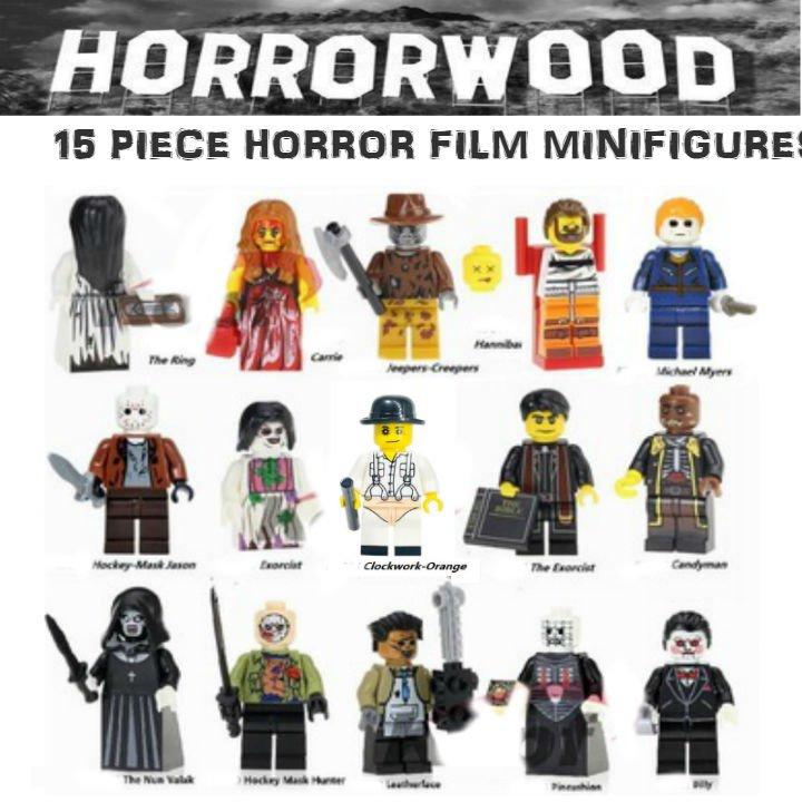 Horror Film 15pc Horrorwood Lego  Minifigures - Exorcist, Pinhead, Jason, Leatherface