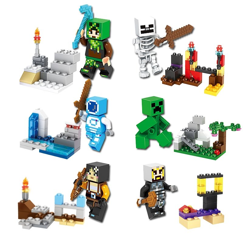 Minecraft Gaming 6pc Mini Figures Building Blocks Minifigures Steve Creeper Ederman