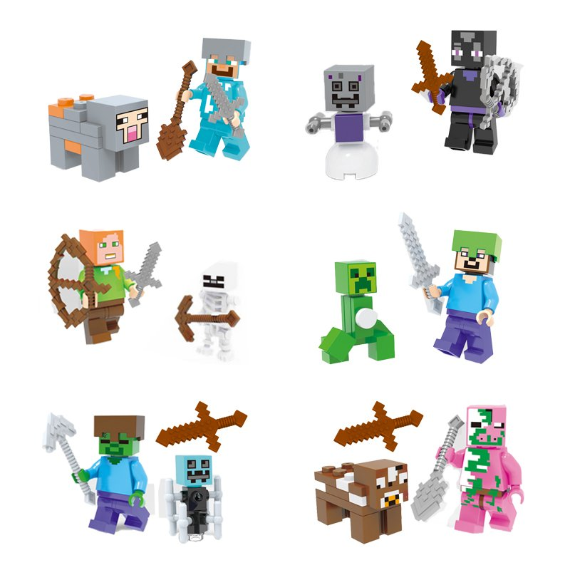 Minecraft Gaming 6pc Mini Figures Building Blocks Minifigures set Steve Creeper Ederman