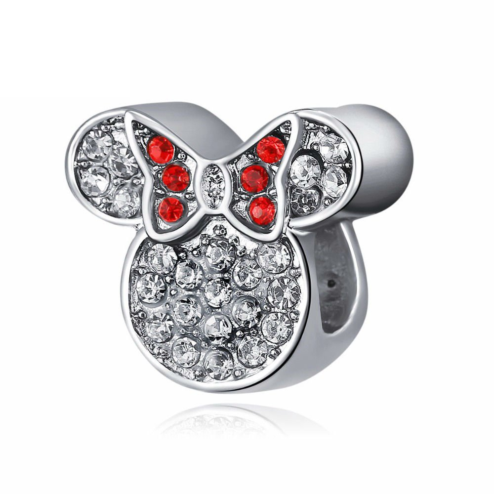Minnie  Mouse Bling Disney Character Silver Pendant Charm for Pandora Bracelet Jewelry