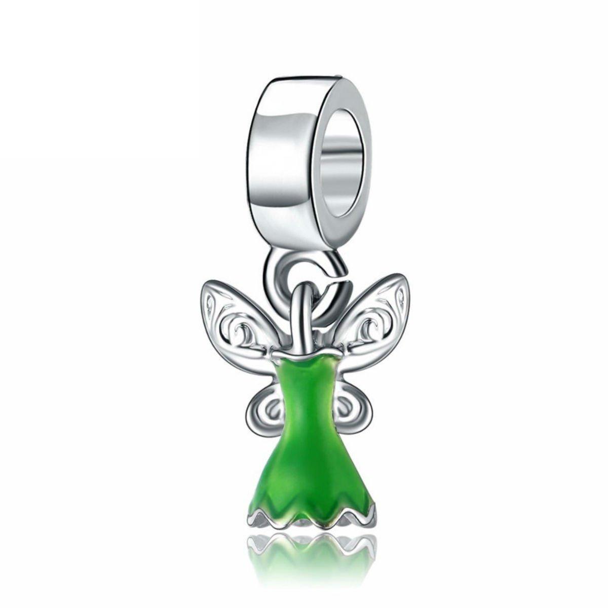 Tinkerbell Dress Disney Character Silver Pendant Charm for Pandora Bracelet Jewelry