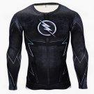 Flash Superhero Compressed Long Sleeve Shirt Marvel DC - BLACK