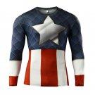Captain America Superhero Long Sleeve Compressed Shirt