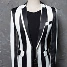 Black and white zebra stripped blazer coat jacket for men