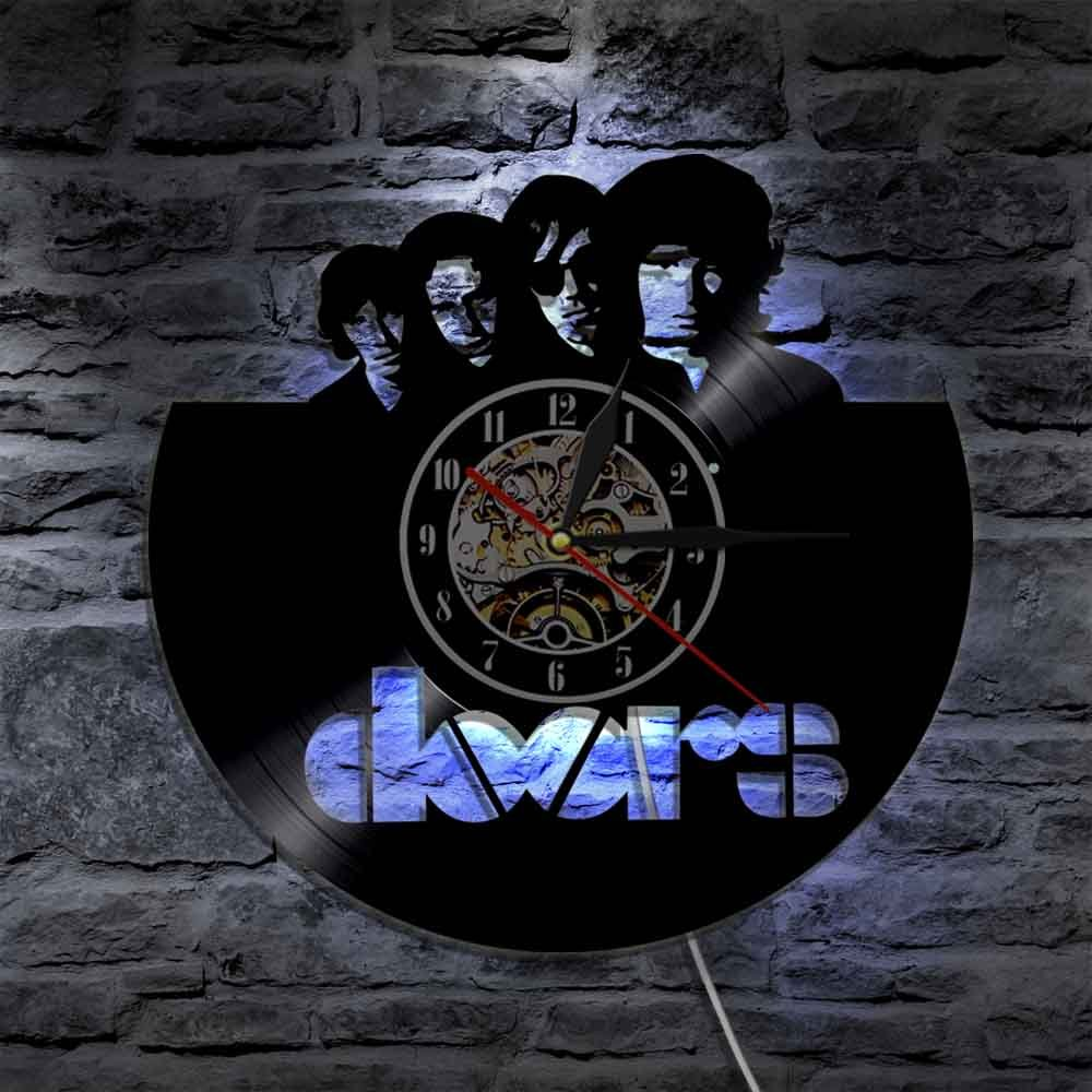 The DOORS vintage vinyl record theme wall clock Music Artist Home Decor with LED Lights