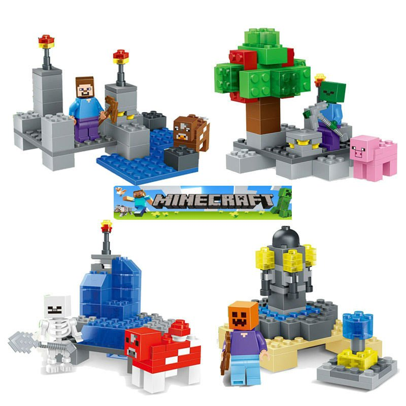 Minecraft Gaming LEGO  Mini Figures Building Blocks Minifigures Mini Figure Steve Creeper Ederman