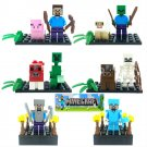Minecraft Gaming LEGO 6pcs block Mini Figures Building Blocks Minifigures Steve Creeper Ederman
