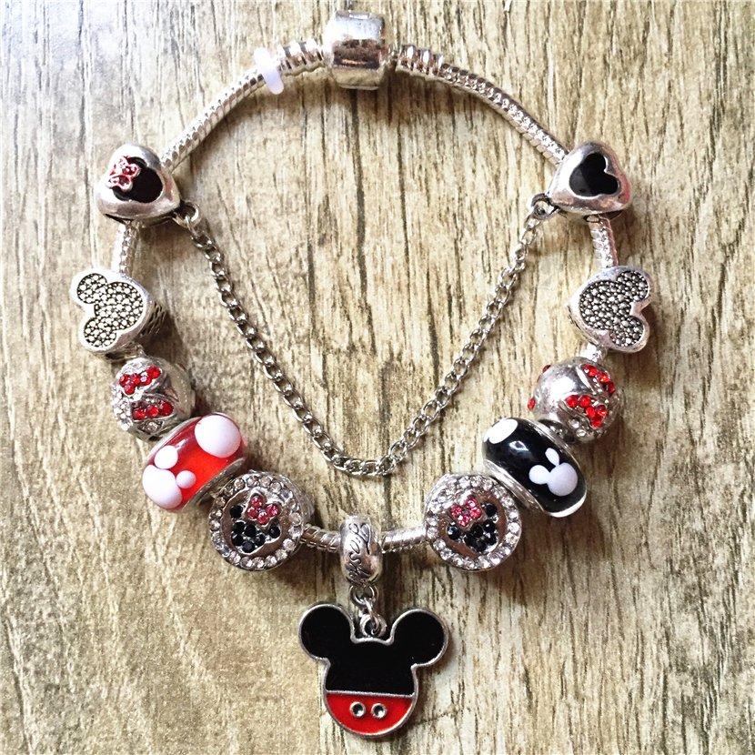 Mickey Mouse Charm Bracelet: Mickey Mouse Cartoon Disney Charm Bracelet With Charms