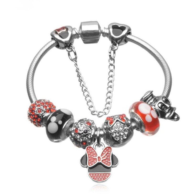 Mickey Mouse Charm Bracelet: Minnie & Mickey Mouse Cartoon Disney Charm Bracelet With