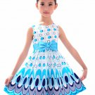 Fun time Princess casual dress with bow girls kids Blue Blowout Sale