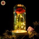 Beauty and the Beast Red Silk Rose and Led Light with Fallen Petals in a Glass Dome on a Wooden Base