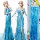 Elsa Frozen Adult Costume Dress Female w slit- ONLY $32 BLOWOUT PRICE