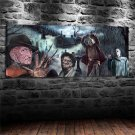Freddy Krueger Michael Myers Jason Leatherface Horror Framed Wall Decor painting 1pc