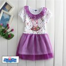 Peppa Pig Cartoon Summer purple fashion dress for Kids Girls