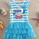 Peppa Pig Baby Blue Stripe Sleeveless Dress Kids Cartoon girls dress