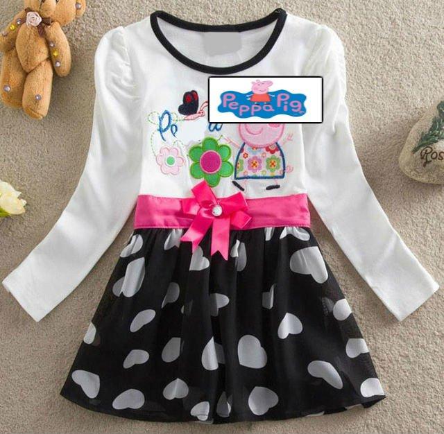Peppa Pig Cartoon Long Sleeve black white heart fashion dress for Kids Girls